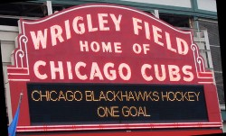 Blackhawks on Wrigley marquee