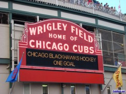 Wrigley Field marquee of Blackhawks One Goal