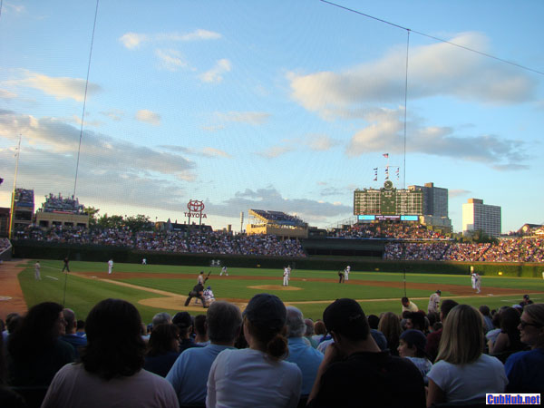 Wrigley Field at dusk